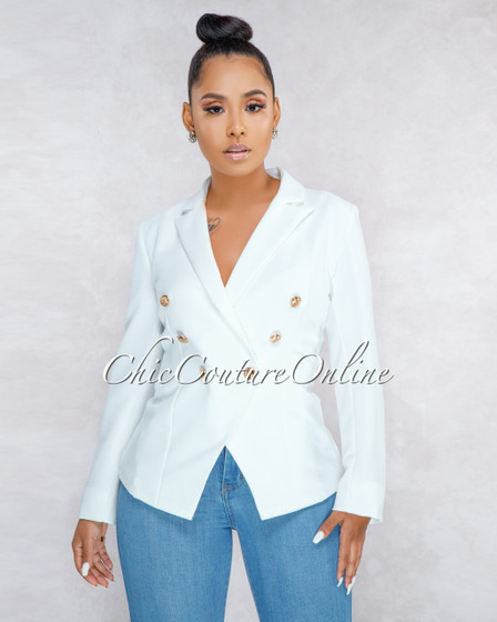 Cadencia Off-White Gold Buttons Trench Blazer