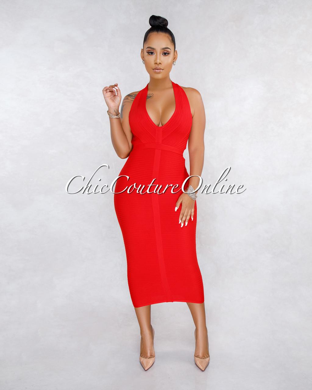 08763ca7d5e1 Lulia Red Ribbed Halter Midi Dress. Price   75.00. Image 1