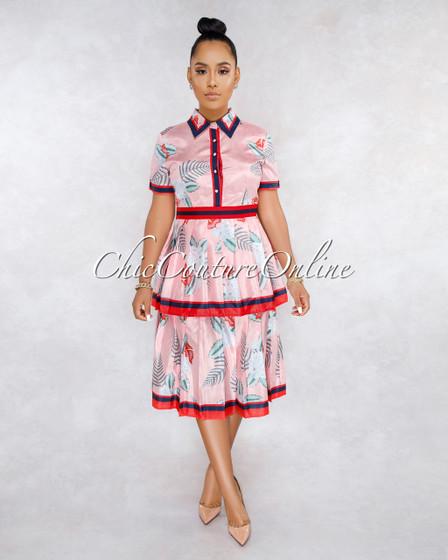 Leonie Pink Floral Print Pleated Tier Skirt Midi Dress