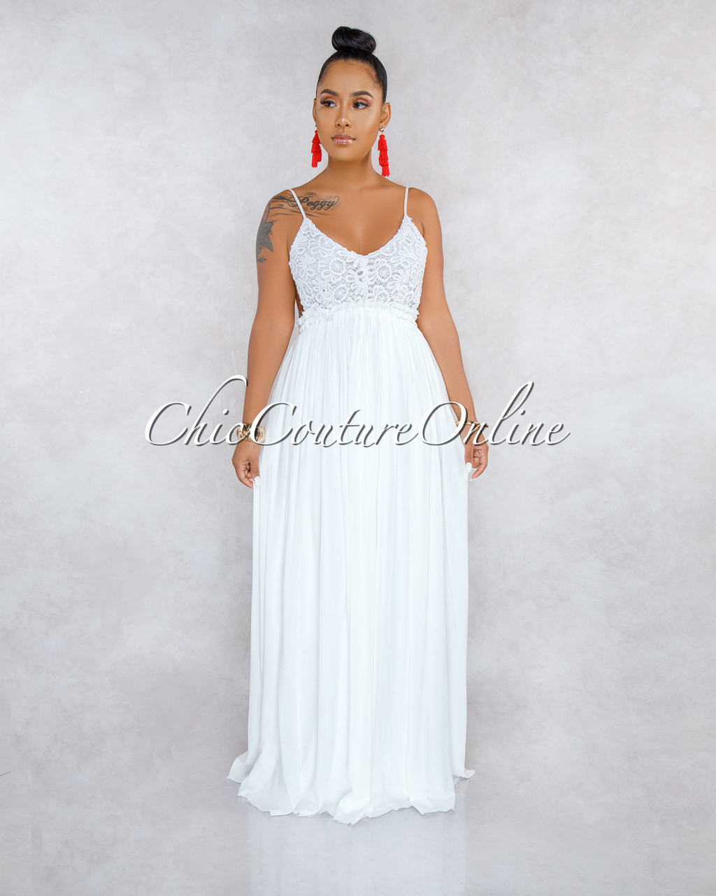 e14ff52a1d69 Rubio Off-White Crochet Top Open Back Maxi Dress. Price: $50.00. Image 1
