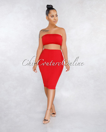 Cayenne Red Cable Knit Two Piece Set