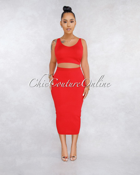 Onnie Red Pencil Skirt Knit Set