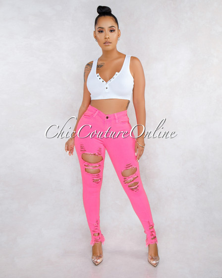 Cyra Neon Pink Distressed Skinny Jeans
