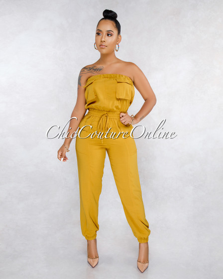 Lizza Mustard Yellow Cargo Strapless Jumpsuit