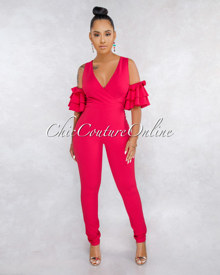 Simile Fuchsia Ruffle Cold Shoulder Jumpsuit