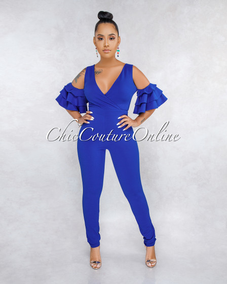 Simile Royal-Blue Ruffle Cold Shoulder Jumpsuit