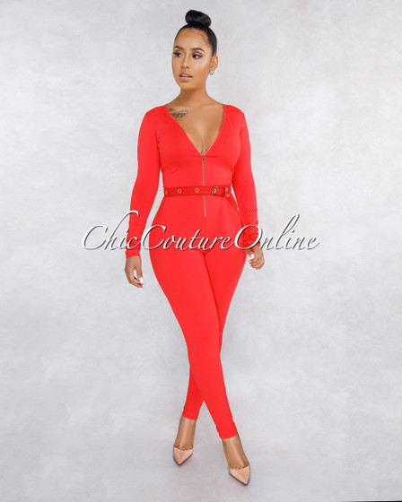 Monet Red Front Zipper Long Belt Jumpsuit