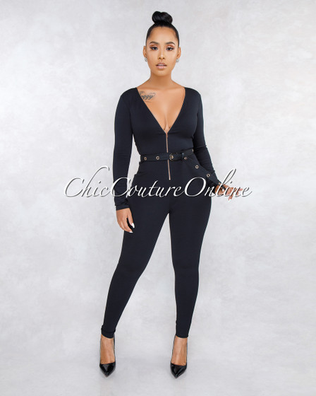 Monet Black Front Zipper Long Belt Jumpsuit