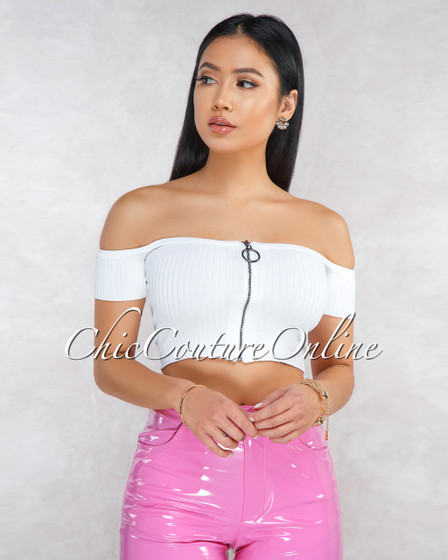 Ruiz White Off-The Shoulder Ribbed Crop Top
