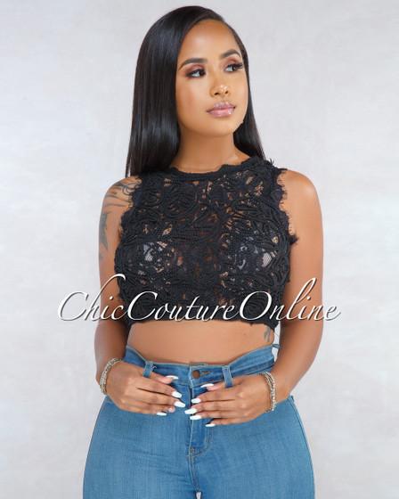 Asalia Black Lace Embroidery Sleeveless Crop Top