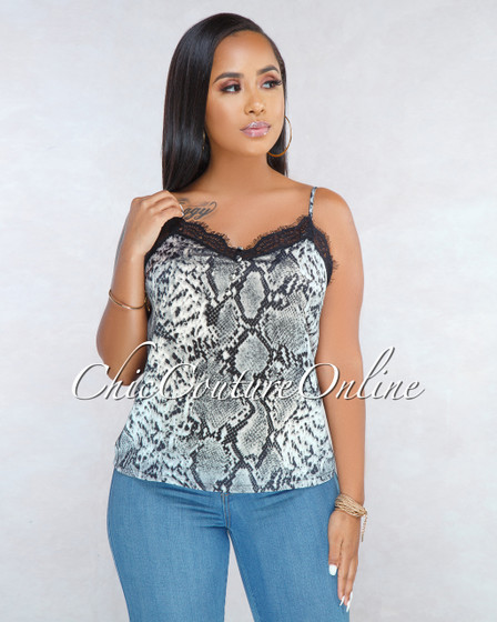 Campbell Gray Snake Print Lace Detail Top