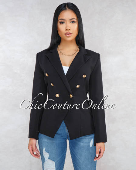 Cadencia Black Gold Buttons Trench Blazer