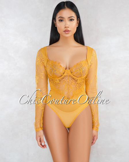 Arissa Mustard Sheer Lace Long Sleeves Bodysuit