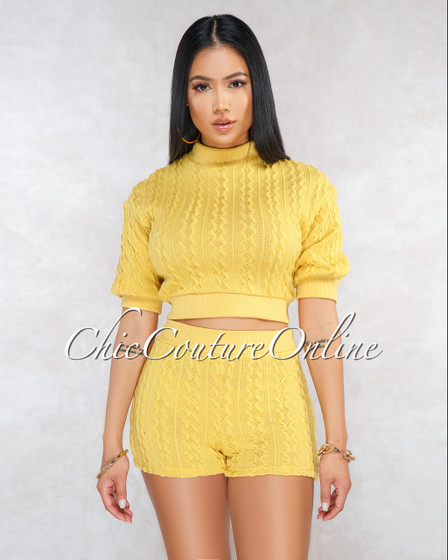 Praise Yellow Cable Knit Short Sleeves Two Piece Set
