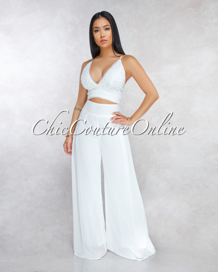 Dekita Ivory Crochet Top Wide Legs Pants Two Piece Set