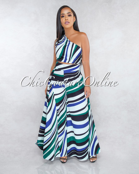Antonella Off-White Green Black Stripes Wide Pants Two Piece Set