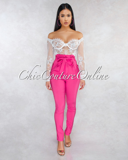 Kiah Fuchsia Pleated Paper Bag Tie Belt Pants