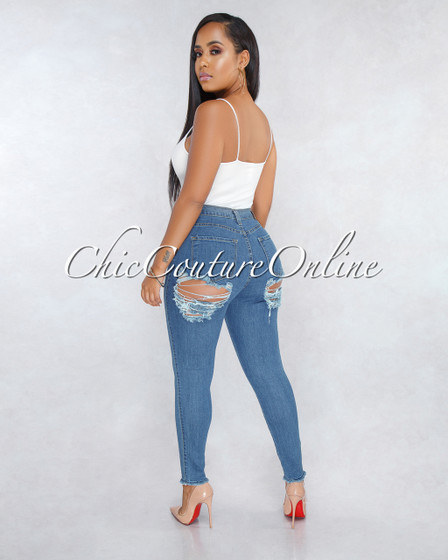 Patsy Blue Denim High Waist Back Distressed Jeans
