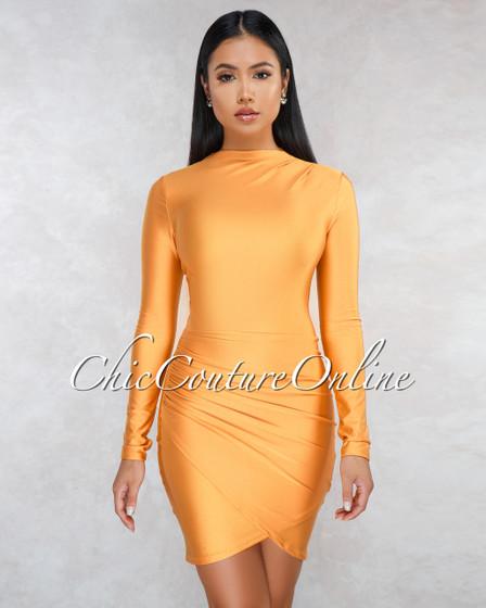 Fantasia Mustard Draped Wrap Bottom Mini Dress