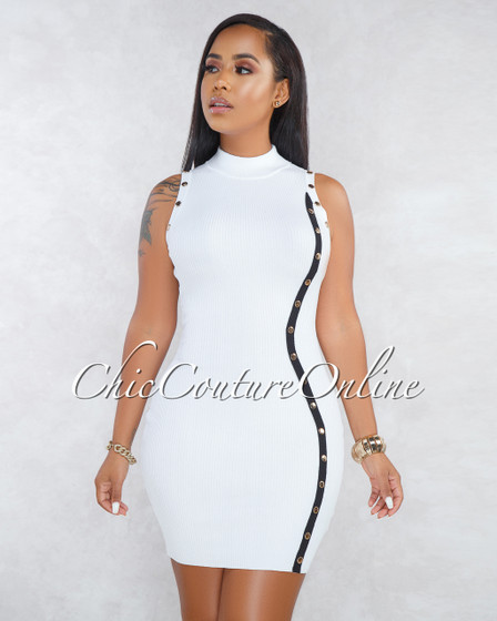Keira White Black Strap Gold Snap Buttons Ribbed Dress