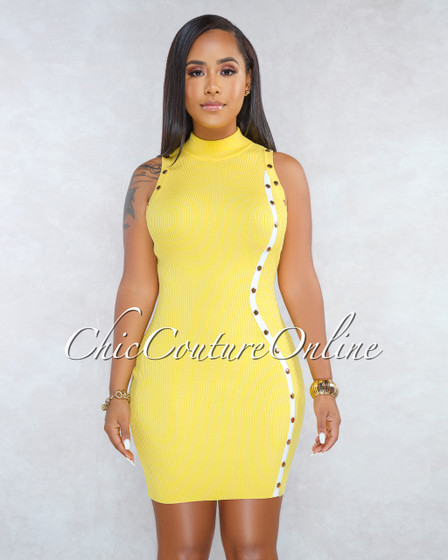 Keira Yellow White Strap Gold Snap Buttons Ribbed Dress