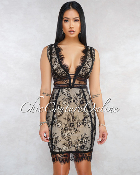 Inez Black Nude Illusion Lace Overlay Bandage Dress
