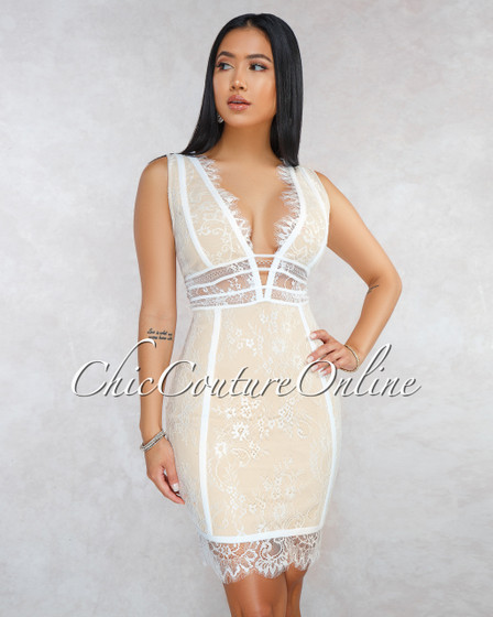 Inez White Nude Illusion Lace Overlay Bandage Dress