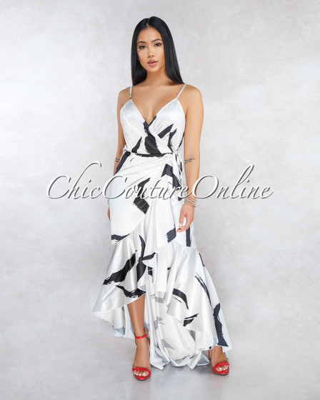 Catalina Off-White Black Print Satin High-Low Ruffle Dress
