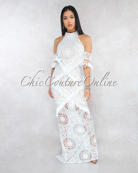 Kaaviah Off-White Nude Illusion Crochet Fringe Maxi Dress