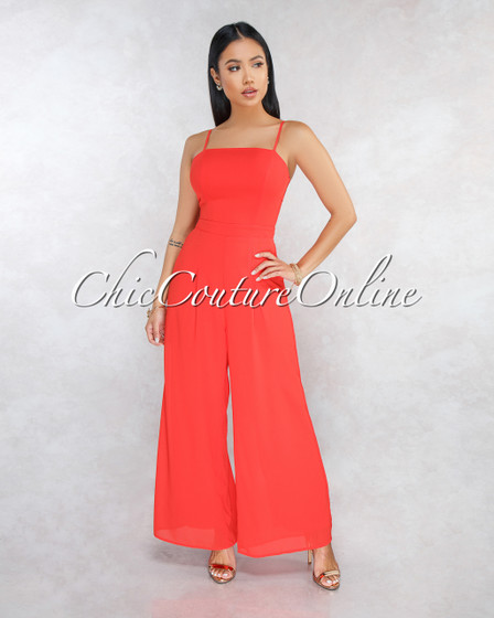 Sammy Tomato Back Tie Wide Legs Jumpsuit