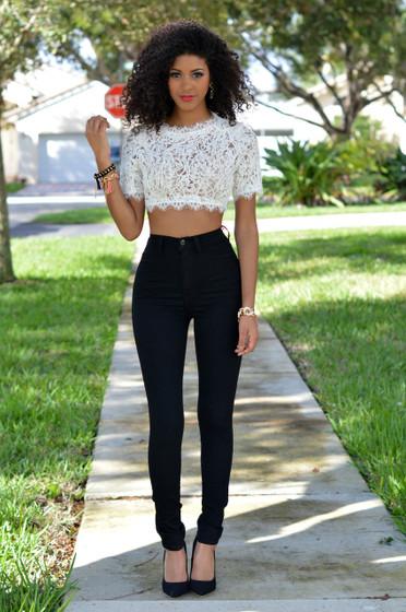 Mara Black Denim High-Waist Skinny Jeans