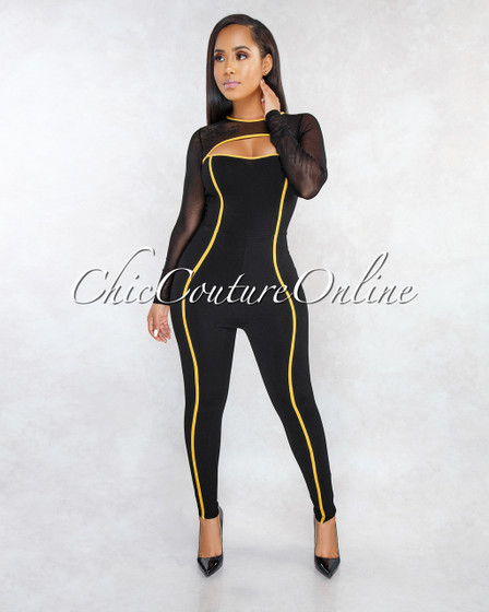 Sheridan Black Mustard Trim Mesh Sleeves Jumpsuit