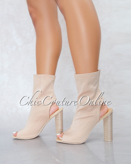 Connie Nude Open Heel Ankle Lenght  Booties