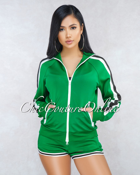 Fidelia Green White Track Suit Two Piece Set