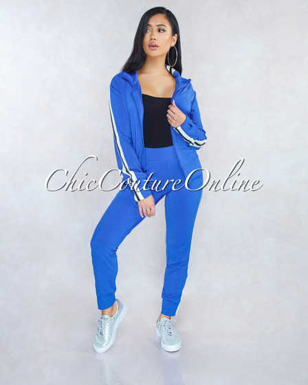 Camisha Blue White Track Suit Two Piece Set