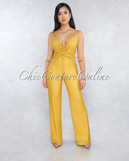 Lyana Mustard Yellow Chevron Texture Front Knot Jumpsuit