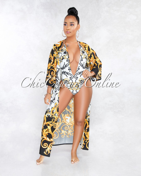 Merrit White Black Gold Print Multi-Way Swimsuit Cover-up Set
