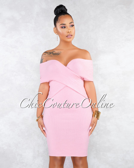 Sanders Pink Criss-Cross Top Ribbed Dress