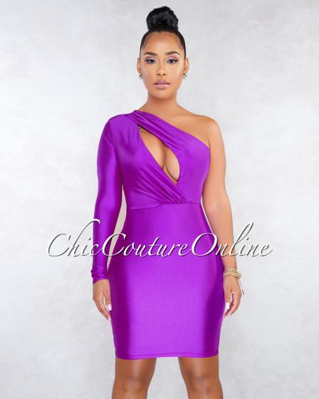 Spade Purple Cut-Out Single Sleeve Dress