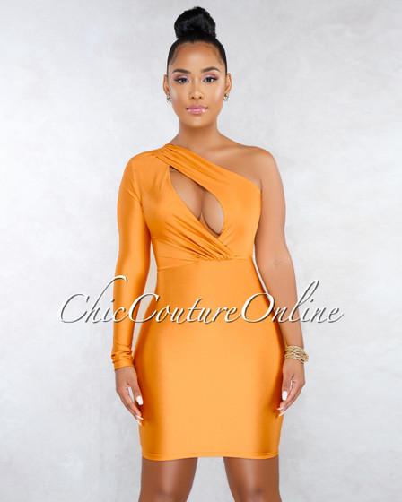 Spade Mustard Yellow Cut-Out Single Sleeve Dress