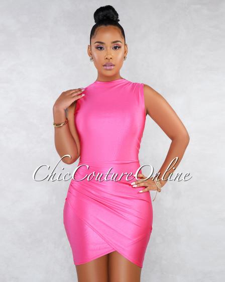 Favia Hot Pink Draped Wrap Bottom Sleeveless Dress