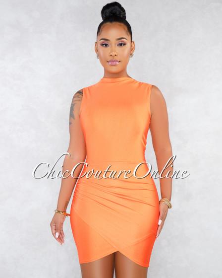 Favia Neon Orange Draped Wrap Bottom Sleeveless Dress