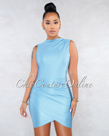 Favia Baby Blue Draped Wrap Bottom Sleeveless Dress