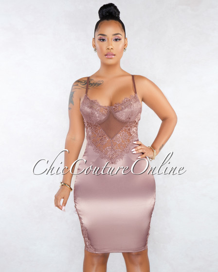 Khalifa Deep Mauve Lace Details Silky Dress