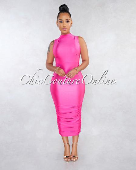 Sanjay Neon Pink Ruched Bottom Midi Dress