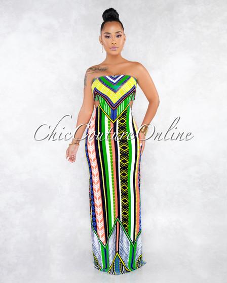 Rianon Neon Green Multi-Color Aztec Print Maxi Dress