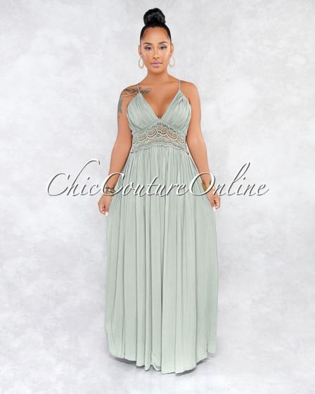Dezi Gray Crochet Details Ruched Bottom Maxi Dress