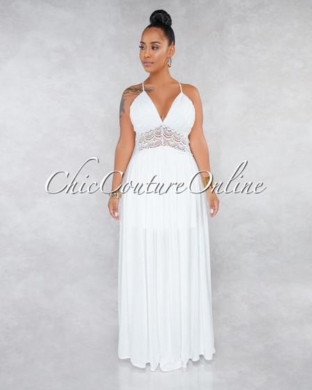 Dezi Off-White Crochet Details Ruched Bottom Maxi Dress