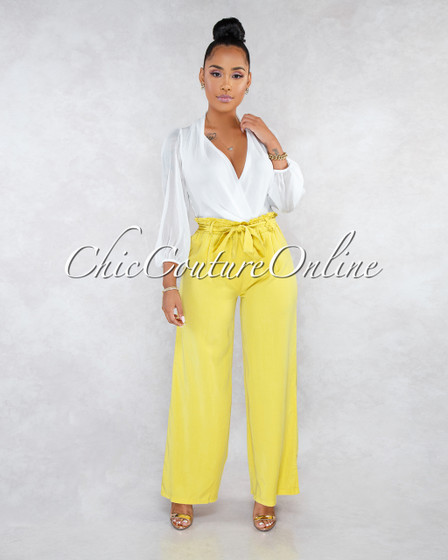 Villa Mustard Yellow Paper Bag Wide Pants