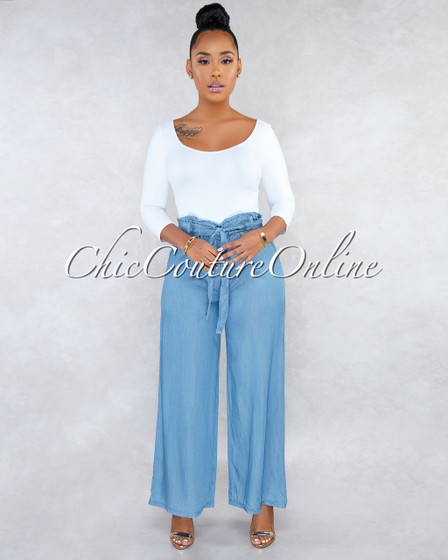 Villa Blue Chambray Paper Bag Wide Pants